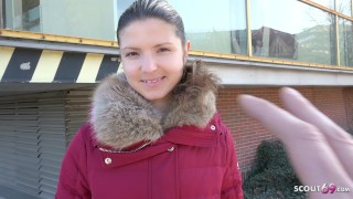 GERMAN SCOUT - Extrem Skinny College Teen Gina Gerson talk to Sex at Street