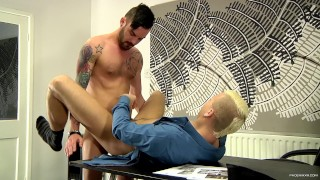 Deacon Hunter gets his ass fucked in the office by his boss Adam Watson