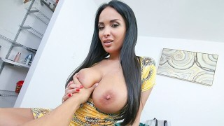Screen Capture of Video Titled: PervMom - Big Titty MILF Shows Off For Big Dick Stepson