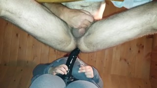 Extreme and hard pegging with a big dildo lots of cum
