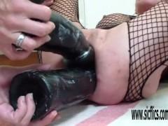 Double dildo fucking her greedy holes