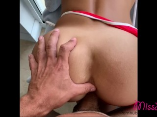 School teacher gets fucked by a Football Player on his Miami balcony