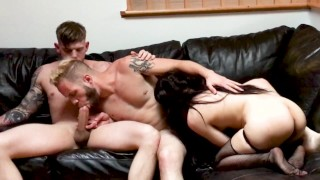 Everyone Fucks Everybody In Hot Bisexual Threesome. First Timer