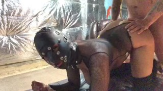 Cumin all over her gorgeous latex mask submissive slave smoking and dirty talk