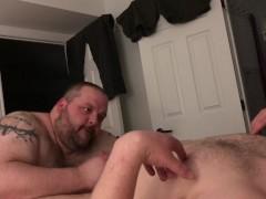 Late-night blowjob bonanza, my hot cub & I both blasting big loads