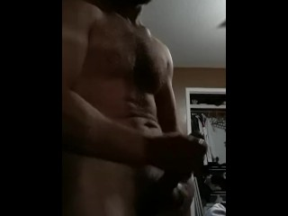 Muscle Man masturbates with huge cum shot
