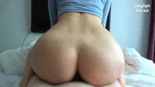 Tiny babe loves squat riding - amateur couple Carry Light