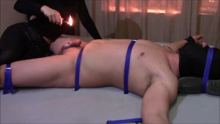 Extreme CBT pain on penis and balls from Deep Heat and Candle Wax.