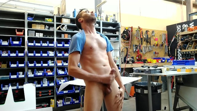 Blue Collar daddy at work stroking his big cock