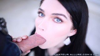 BLUE EYED BRUNETTE EVELYN CLAIRE ENJOYS BIG COCK WITH HER MOUTH AND PUSSY