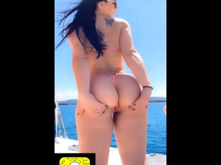 2 girls with butt plugs dancing naked at boat party