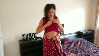 Indian red saree Bhabhi caught watching porn by Devar fuck desi hindi audio
