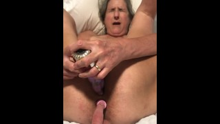 60 year old granny milf matur anal dildo play tied up getting ready to fuck