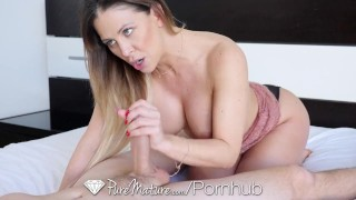 PUREMATURE Busty MILF Puts More Than The Tip In Her ASS