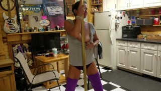 Milf Dancing and grinding on her Brass Pole