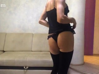 Skinny twink masturbating wearing a sexy lingerie