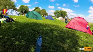 VERY RISKY SEX IN A CROWDED CAMPING AMSTERDAM | PUBLIC POV by MihaNika69