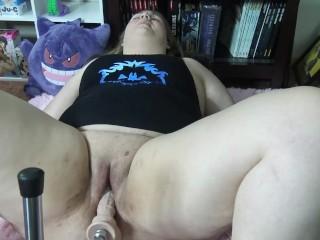 Nerdy BBW Cums To Fuck Machine