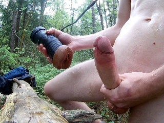 Fucking my new fleshlight nude outdoors/forest