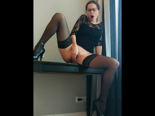 Webcam secretary in glasses squirt on the table, Snapchat – CatherineRain