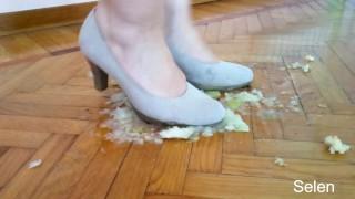 Feet crushing fruit