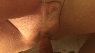 POV Homemade wife pisses all over me and I pee in and all over her pussy