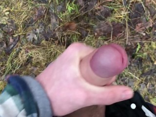 Stroking Real Big Dick Outdoor / ORGASM / Monster Cock