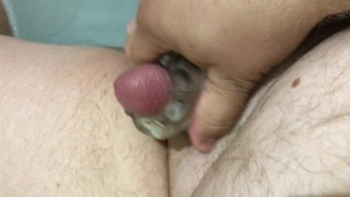 Hairy Dad Jerking Off in the Bath Shoots Huge Load
