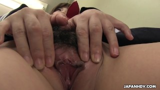 Japanese schoolgirl, Kaede Oshiro shows pussy to a friend, uncensored