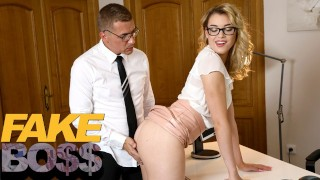 Screen Capture of Video Titled: FAKEhub Hot office girl Anny Aurora spanked and fucked calling him Daddy