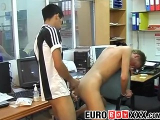 Blond ky takes big dick during working hours