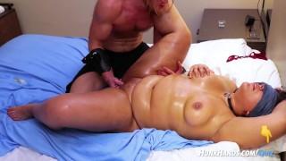 Chubby pierced FAN gets BDSM massage.. SQUIRTS! Choked HARD!
