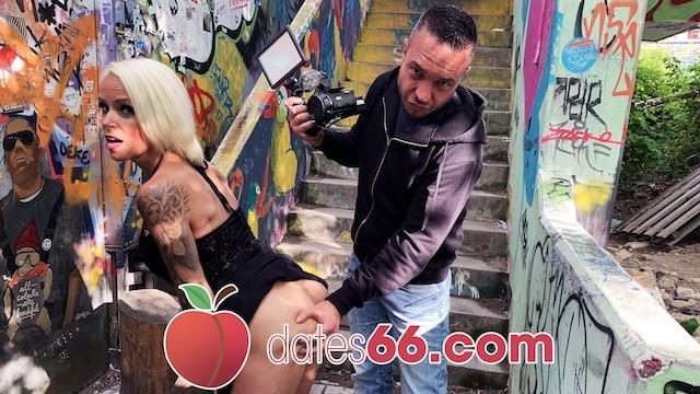 dates66.com IN PUBLIC: Blonde MILF fucks random guy on stairs
