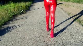 Sexy high heels latex leggins domina walking,very hot domina from poland