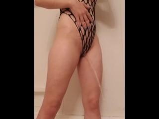 Petite Girl Peeing In Fishnet Black Bodysuit