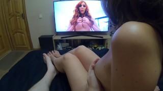 Watching Porn With Lauren Phillips And Fucking Sweet Brunette Girl