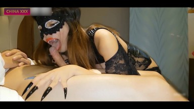Asian Vampire Girl With Long Nails Wants To Suck His Cock