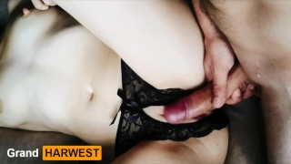 Screen Capture of Video Titled: GrandHarwest. He fucked me through the panties.  Cumshot inside