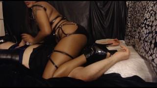 Hot ebony dominatrix edges submissive while facesitting