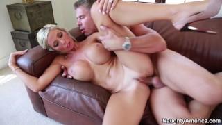 Naughty America - Evita Pozzi fucking in the couch