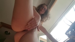 Wanna be seen masterbation at the window, up view and squirting