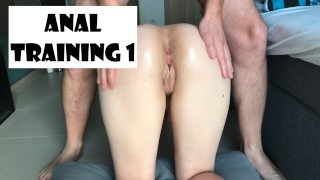Day 1 Anal practice! Painful start for her ass