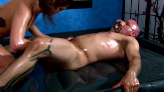 Hot Red Head Slides Tight Oiled Body All Over - Fucks, Sucks and Strokes