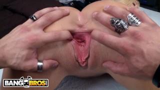 Screen Capture of Video Titled: BANGBROS - Blonde MILF Summer Brielle Titty Fucks Xander Corvus