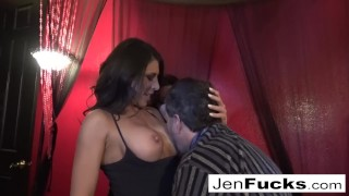 Two stacked MILF brunettes bang one lucky dude!