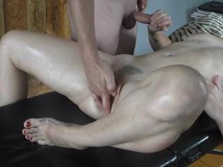 Oil Massage Hot masturbation on massage table #Fuck #Blowjob #Cumshot