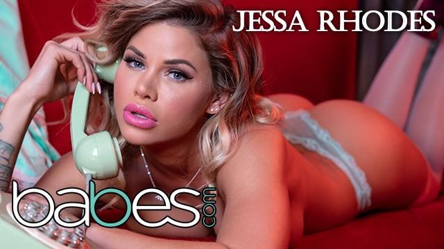 Babes- Big tit Phone Sex operator Jessa Rhodes rides bbc in pink stocking