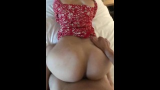 Sexy curvy wife in red dress doggystyle