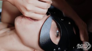 CUTE GIRL masturbate and CUMS WITH SPERM IN MOUTH after she liks his ASS.