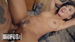 MOFOS - Asian spinner Ember Snow gets post workout pounding